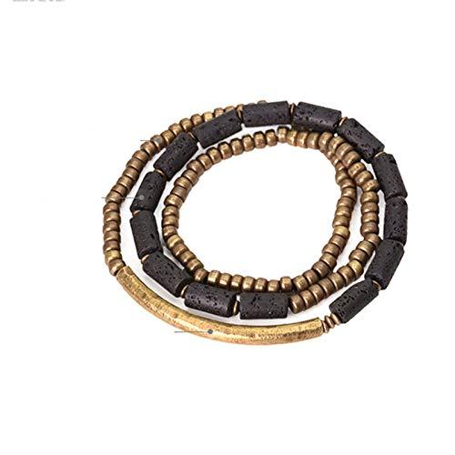 NJIANGHUA Men'S Bracelets Ladies Bracelets Multi Layer Handmade Brass Tube Volcano Stone Bracelet Beaded Bracelet Strand Bracelets Copper Bracelet For Men And Women