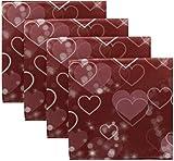 BONRI Set di 4 Cuori al Neon e Puntini a Bolle galleggianti sul Rosso per Happy Valentines Day Tovaglioli di Stoffa in Poliestere Lavabile Tovaglioli per la Cena per la tavola da Pranzo Festa 20'X20'