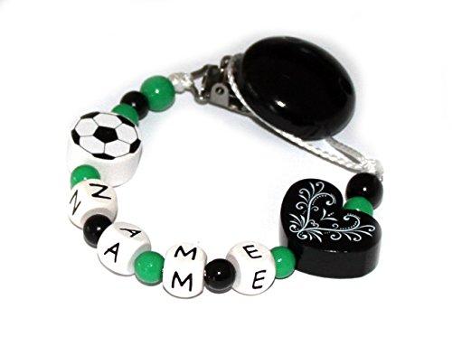 Baby Schnullerkette mit Perlen aus Holz und Wunschname.Vereinsfarben - Schwarz weiß grün