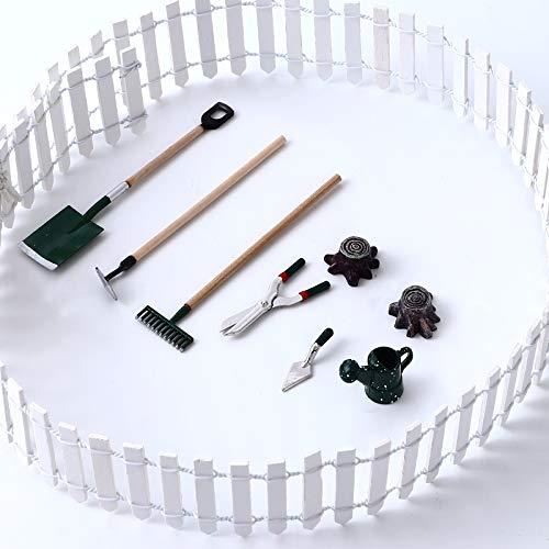 Ulikey 9 Pcs Miniatur Puppenhaus Set, Miniatur Puppenhaus Set Gartengeräte, DIY Miniatur Puppenhaus Set Gartengeräte, Garten Möbel Deko, Gartengeräte + Gießkanne + Stumpf + Weißer Zaun