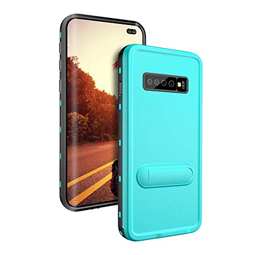 Waterproof Case for Samsung Galaxy S10+ Plus,Military Grade Drop Tested,Snowproof Shockproof DirtProof Full Sealed Underwater Protective Cover Case with Kickstand (Grass Blue)