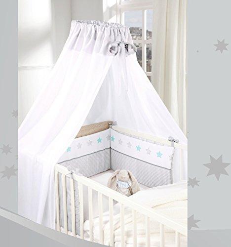 Baby Himmel Nestchen SET 2 tlg. grau - weiß karo Sterne schlichte Eleganz Oeko Tex