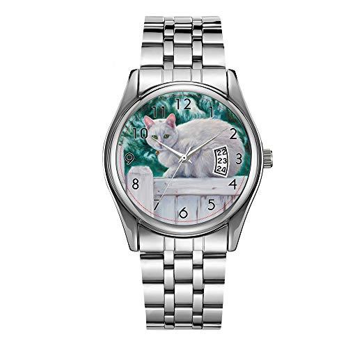 Luxus Herrenuhr 30m Wasserdicht Datum Uhr Männlich Sportuhren Männer Quarz Casual Weihnachten Armbanduhr Katze auf einem Zaun Uhr
