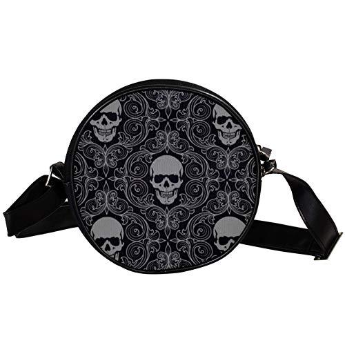 Runde Crossbody Tasche Kleine Handtasche Damen Mode Schultertaschen Messenger Bag Canvas Tasche Hüfttasche Zubehör für Frauen - Totenkopf Fliesen Hintergrund