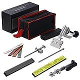 InLoveArts Afilador de cuchillos profesional con 6 muelas, afilador de cuchillos de ángulo fijo con rotación, juego de herramientas de afilado de cocina manuales