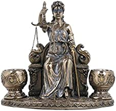 Lady Justice Sitting Statue Candle Holder, Bronze Powder Cast