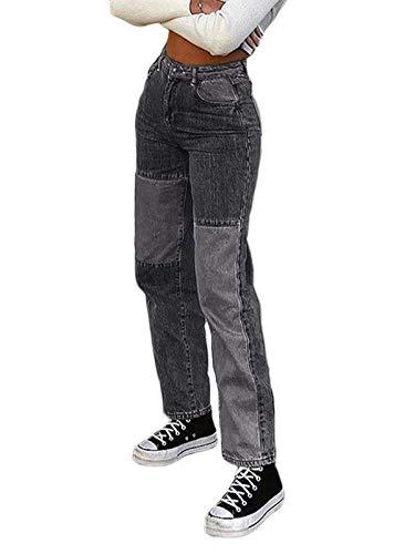 Minetom Damen Patchwork Jeans High Waist Stretch Distressed Straight Leg Denim Jeans Hose Streetwear Vintage Schlagjeans Hose F Grau Small