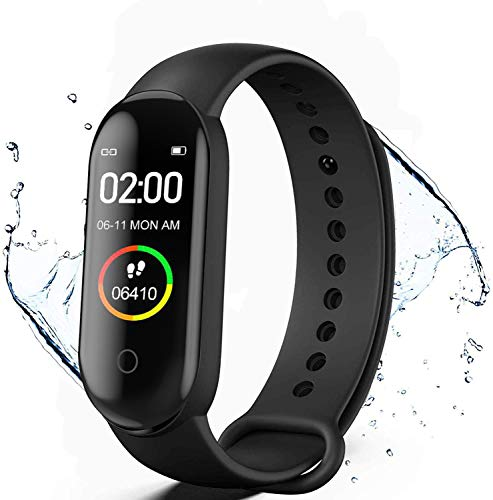 KLiHD Smartwatch,Pulsera de Actividad física M4,Reloj Inteligente con Oxígeno Sanguíneo Presión Arterial Frecuencia Cardíaca, Cronómetros,Calorías,Monitor de Sueño,Podómetro Monitores de Actividad