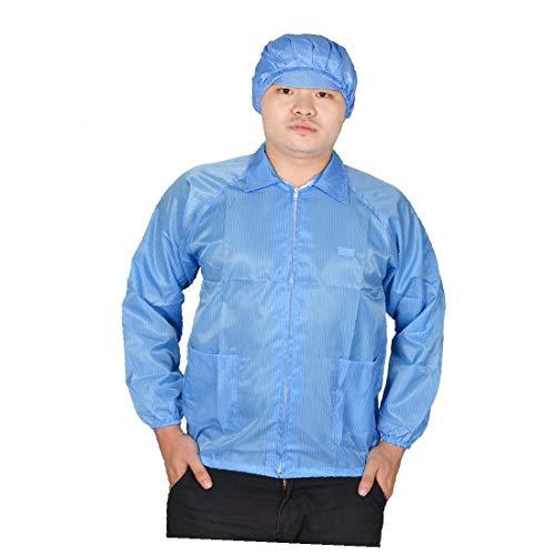 X-DREE Mujeres Hombres Azul alto rendimiento Puño elástico Bolsillos esencial Parche antiestático ESD bien hecho Lab Smock Coat L(fac-f0-97-b14)