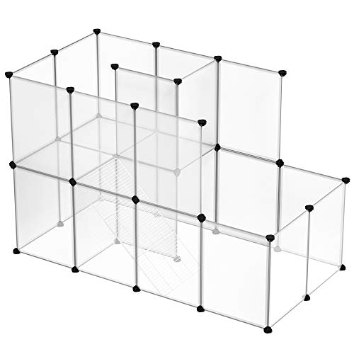 SONGMICS Meerschweinchen-Käfig, DIY-Hamsterkäfig aus Kunststoff, weiß LPC03W