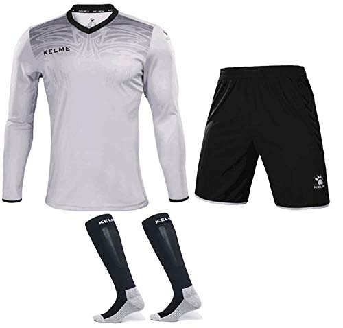 KELME Goalkeeper Jersey Uniform Bundle - Set Includes Goalkeeper Shirt, Shorts and Socks - Professional Soccer Brand with Protection Pads on Shirt and Shorts. (Small, Grey)