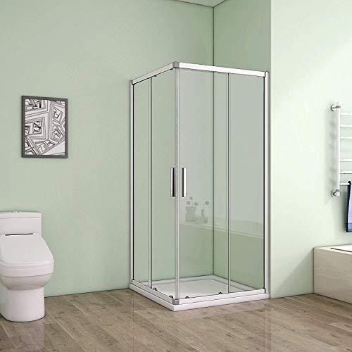 100 x 100 x 185 cm Duschkabine Schiebetür Eckeinstieg Duschabtrennung Duschwand aus 5mm ESG Sicherheitsglas Klarglas ohne Duschtasse