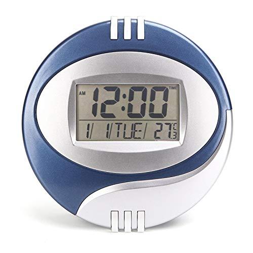LINYIN Temperatur Uhr LCD Display elektronische Uhr Modernes Wohnzimmer Schlafzimmer Silent Wecker Blue.