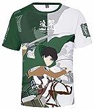 Camiseta de manga corta con estampado 3D de Attack on Titan para mujer de Legion Scouting Anime Cosplay Tops para hombre Eren Mikasa Ackerman Titans Shingeki no Kyojin, 06 Aot 3d Camiseta, XXXL