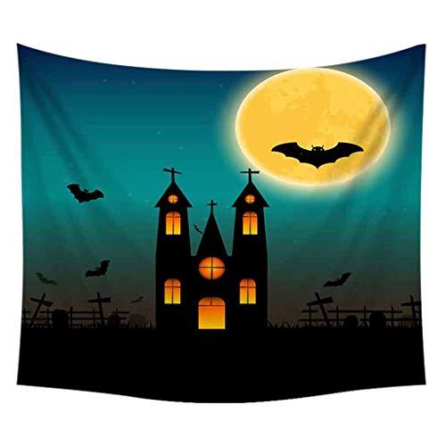 TeasyDay Halloween Tapisserie, Totenkopf Kürbis Kürbisse Baum Hexe Druck Dekoration, Verwendung für Poster, Tapisserie, Wandbehang, Tischdecke, Yogamatte, Wanddekoration, 150x200cm