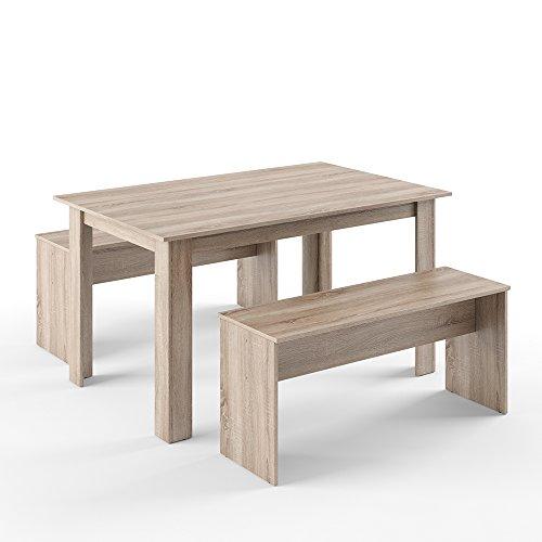 Vicco Tischgruppe 140 x 90 cm - 4 Personen - Esszimmer Esstisch Küche Sitzgruppe Tisch Bank - Bänke flexibel verstaubar (Eiche)
