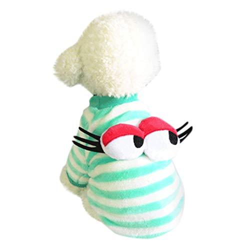 Amphia - Warme Kleidung mit Hund,Netter Hundewelpen-Kleidungs-Strickjacke-kleines Welpen-Hemd weiche Haustier-Mäntel(L,Grün)