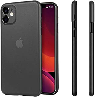 """Amozo iPhone 11 Cases and Covers   Ultra Thin Series Matte Semi Transparent Anti Slip Case Cover with Full Camera Protection for iPhone 11 (6.1"""") - Black"""