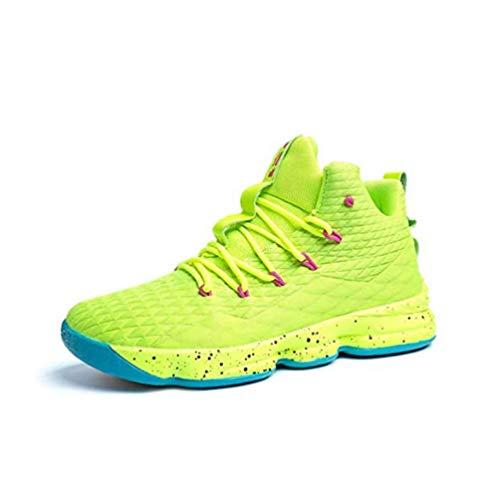 Zapatos Hombre Deporte de Baloncesto Sneakers de Malla para Correr Zapatillas Antideslizantes Negro Rojo Champán Verde Brillante 36-46 Verde Brillante 45
