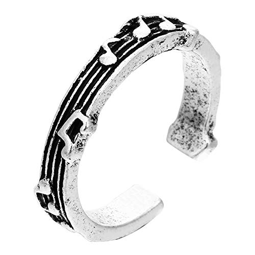 QWKLNRA Anillo Vintage,Nota Musical S925 Estilo Boho Tallado Vintage para Mujeres/Hombres Anillos Punk Vintage Ajustables, Utilizados para Cumpleaños, Aniversarios