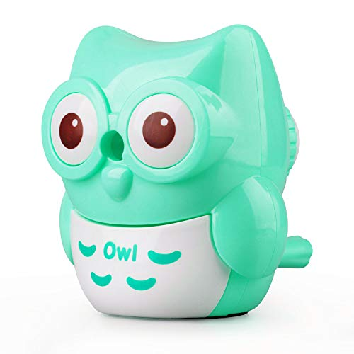 StudentsZone Kids Hand held Manual Pencil Sharpener with Cover for Colored Pencils (Owl-Green)