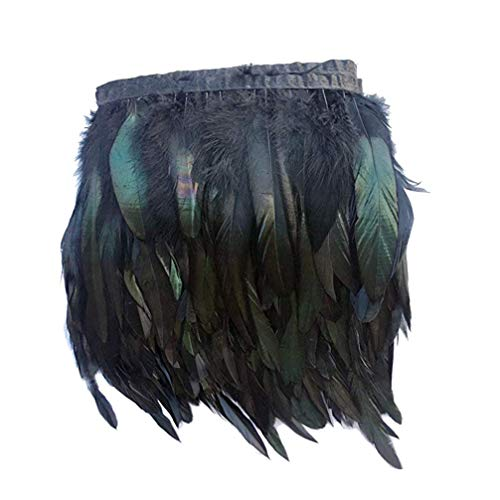 Healifty adorno de flecos de plumas de gallo para decoración artesanal de sombreros de bricolaje 5m...