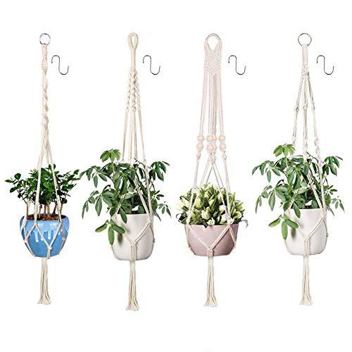 Xddias 4Pcs Colgante de Plantas Maceta Cuerda de Algodón Titular, 105cm Tejido Manual Cuerda para macetas con 4 Ganchos para Colgar Canasta para Jardín Decoraciones de Pared