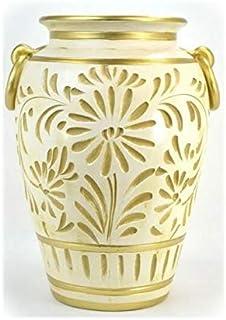 イタリア製 傘立て 陶器 グラフィート ホワイト/ゴールド(アイボリー アンブレラスタンド おしゃ