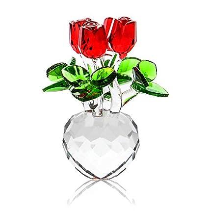 Adorno de cristal rosa | Adornos de flores | Flores de cristal | Rosa roja adorno | Adornos para el hogar | M&W