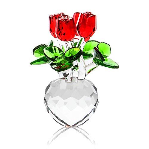 Soprammobile di rose in cristallo | Soprammobile floreali | Fiori di vetro | Soprammobile di rose rosse | Soprammobile per la casa | M&W