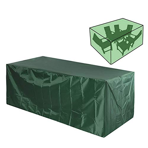 QAZXS Garden Furniture Cover Anti-UV Waterproof Windproof Patio Furniture Covers Heavy Duty 210D Oxford Outdoor Table Sofa Dust Proof Covers Green-170x71x94cm