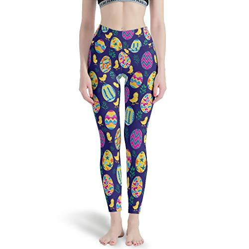 Harberry Pantalones Tobillos Ajustados Mujeres, Conejos de Pascua Impresos Leggings - Yoga Capris para Mujer Blanco7 XL