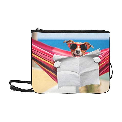 WYYWCY Hund lesen Zeitung oder Magazin Muster benutzerdefinierte hochwertige Nylon dünne Clutch Crossbody Tasche Umhängetasche