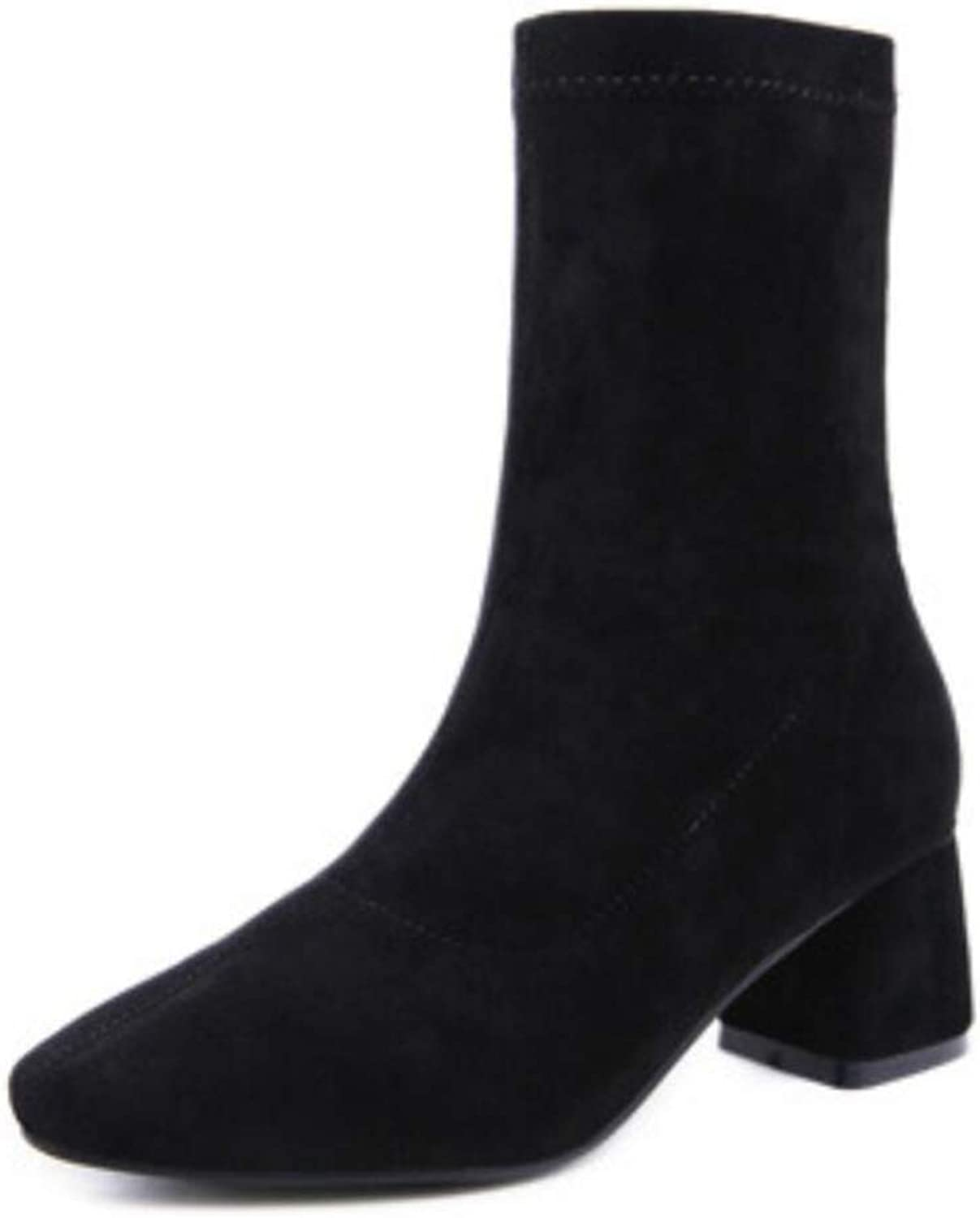 Women's Boots Autumn New Chunky Heel Round Head Wool Knit Boots Ankle Boots Stretch Boots
