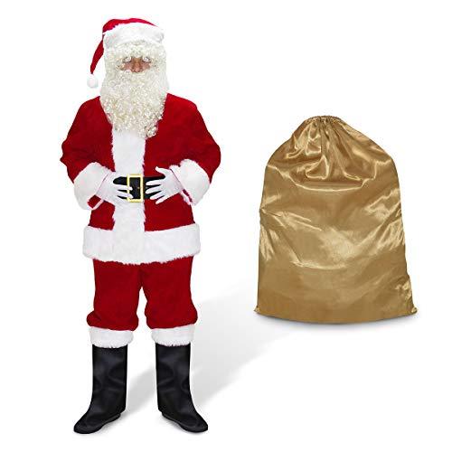 ABALAGU Men's Deluxe Santa Suit 11pc. Christmas Velvet Adult Santa Claus Costume (L)