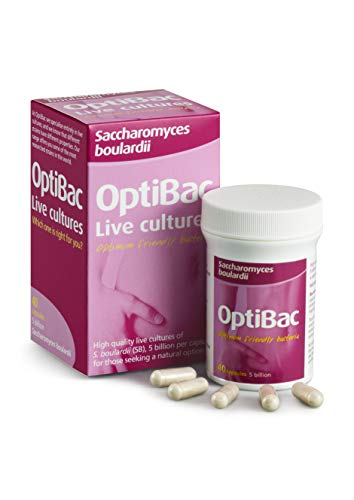 OptiBac Saccharomyces Boulardii | 5 Billion Friendly Bacteria Natural Yeast Supplement | Well Researched & Internationally Acclaimed | Vegan & Gluten Free | Shelf Stable | 40 Capsules