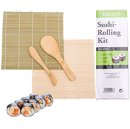 EXZACT EX-SR04 Kit de bambú para enrollar sushi – 4 piezas – 2 x esteras, 1 x paleta de arroz, 1 x esparcidor de arroz, Todo natural (EX-SR04)