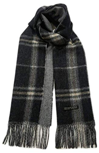 Peruvian Reversible Alpaca Scarf - 100% Authentic Baby Alpaca Wool for Men and Women (Charcoal Gray)