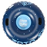 ZOTO Snow Tube, Super Heavy Duty 47 Inch and 0.6mm Thickening Inflatable Snow Tube Sled for Kids and Adults, Sturdy Snow Sled with Grip Handles
