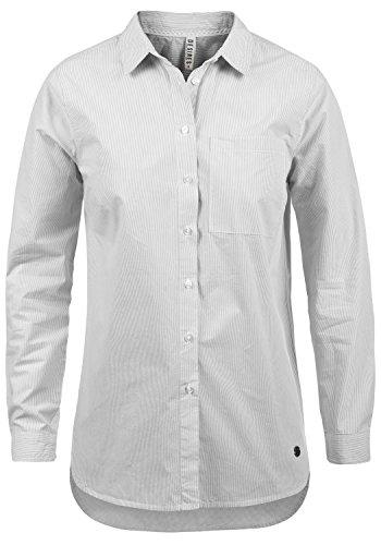 DESIRES Drina Damen Bluse Shirt mit Stehkragen und Nadelstreifen aus 100% Baumwolle Business-Look Lang Loose Fit, Größe:XXL, Farbe:Mid Grey (2842)