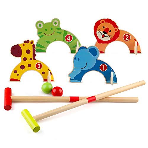 Wondertoys Juego de Croquet de Animales de Madera, Juguetes de Golf con 2 Bolas, Juego Educativo temprano, Regalo para niños
