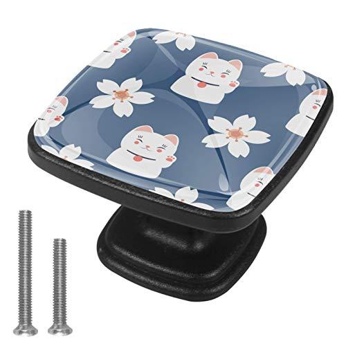4 pomos negros para cajón de cocina, baño, armario, armario, dibujos animados japoneses, gato de la suerte, flores de cerezo