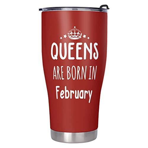 AOIWE Queen sind im Februar geboren. Reisebecher 30 oz Doppelwand Edelstahl Vakuum isoliert Tumbler Kaffeetasse Thermalbecher für Outdoor arbeitet Strand für Kaffee Kakao Wasser Heide Tee weiß 900ml