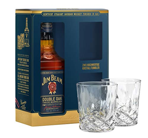 Jim Beam Double Oak Whiskey Exclusive crystal tumbler gift set 70cl