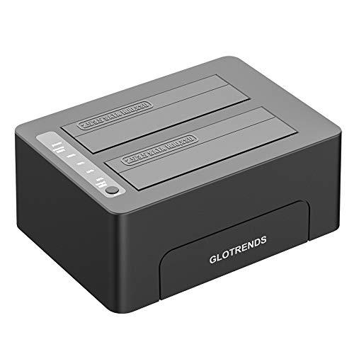 Glotrends 2-Schacht Festplattenradiergummi, 2,5/3,5 Zoll SATA SSD/HDD, USB 3.0, Festplatte sicher löschen, Standalone SATA Docking Station (BE2)