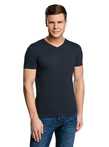 oodji Ultra Hombre Camiseta Básica con Escote en V, Azul, ES 56 / XL