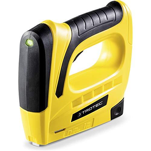 TROTEC Akku-Tacker PTNS 10‑3,6V DIY Akku Tacker Nagler Unterlademechanik mit Auslösesicherung und Füllstandsanzeige 30 Schüsse pro Minute, Klammerlänge 6-8 mm, Nagellänge 10 mm