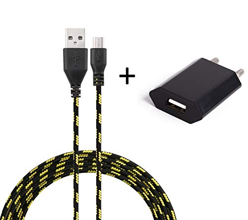 Set oplader voor Huawei P9 Lite smartphone micro-USB-kabel 3 m lader + USB-netstekker) wandhouder Android universeel (zwart)
