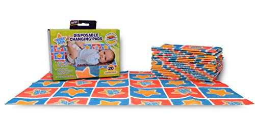 Mighty Clean Baby Disposable Changing Pads - Portable Diaper Changing Underpad, Breathable, Absorbent Leak-Proof Sheet Protector (20 Count)