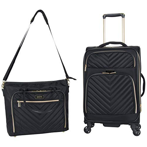 Kenneth Cole Reaction Women's Chelsea 2-Piece 20' Expandable 4-Wheel Carry-On Suitcase & Matching 15' Laptop Tote, Black